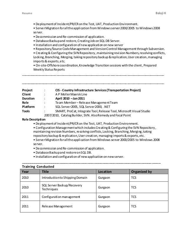 Resume Balaji K • Deploymentof Incident/PR/CRonthe Test,UAT, ProductionEnvironment. • ServerMigrationforall the applicatio...