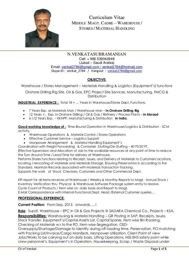 Scm Resume Format Cv Venkat 16 Onshore Drilling Rig Gas Scm Manufacturing