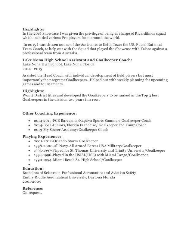 high school soccer coach resume