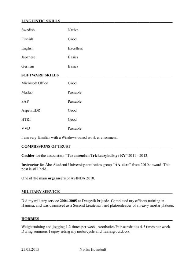 gymnasium engels cv Niklas Holmstedt English CV
