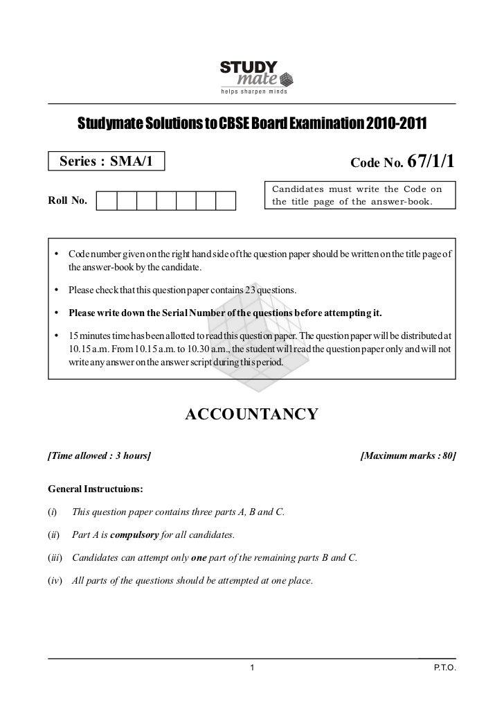 Studymate Solutions to CBSE Board Examination 2010-2011       Series : SMA/1                                              ...