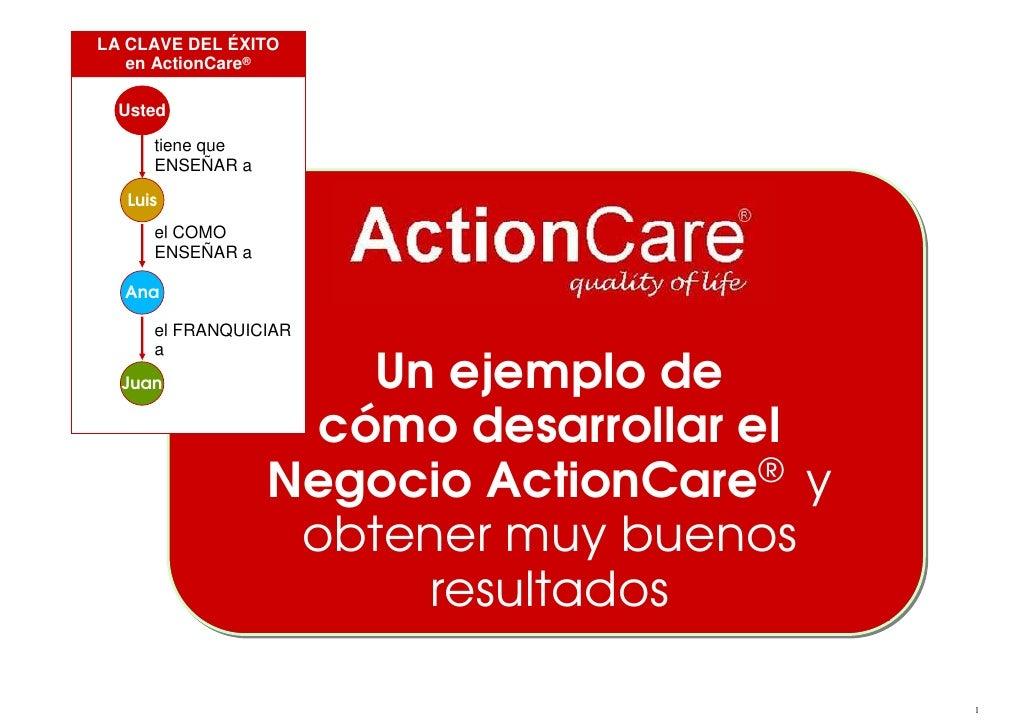 LA CLAVE DEL ÉXITO    en ActionCare®    Usted        tiene que       ENSEÑAR a     Luis       el COMO       ENSEÑAR a    A...