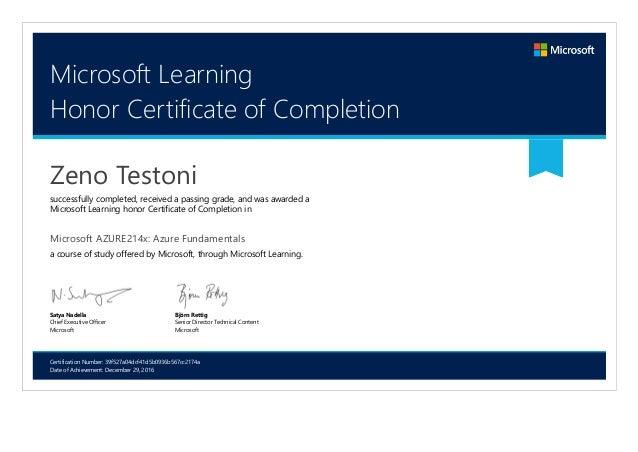microsoft azure214x certificate microsoft learning
