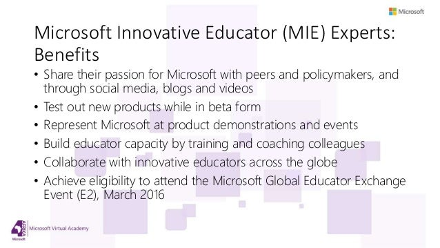 Apply to become a Microsoft Innovative Educator Expert by
