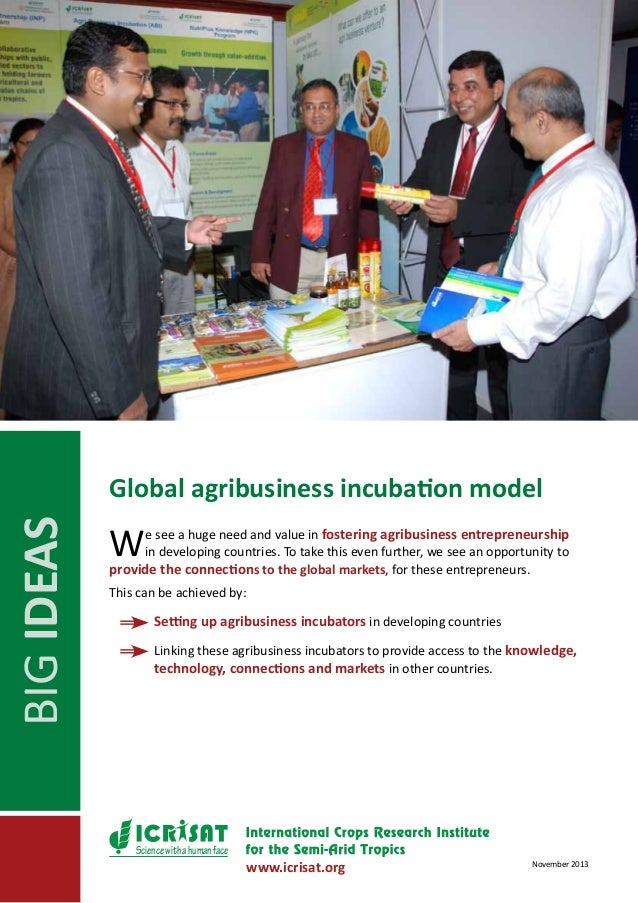 BIG IDEAS  Global agribusiness incubation model  W  e see a huge need and value in fostering agribusiness entrepreneurship...