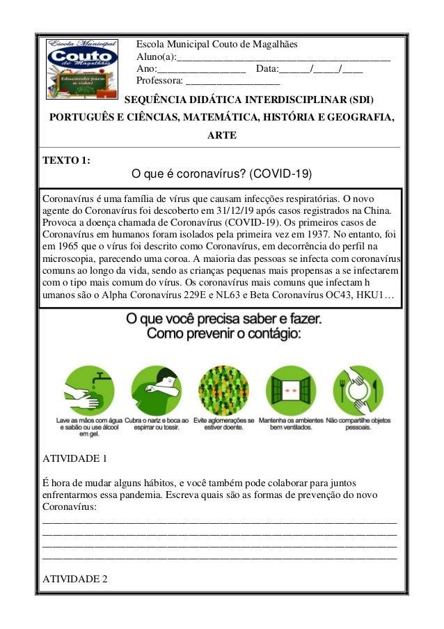 Escola Municipal Couto de Magalhães Aluno(a):_________________________________________ Ano:_________________ Data:______/_...