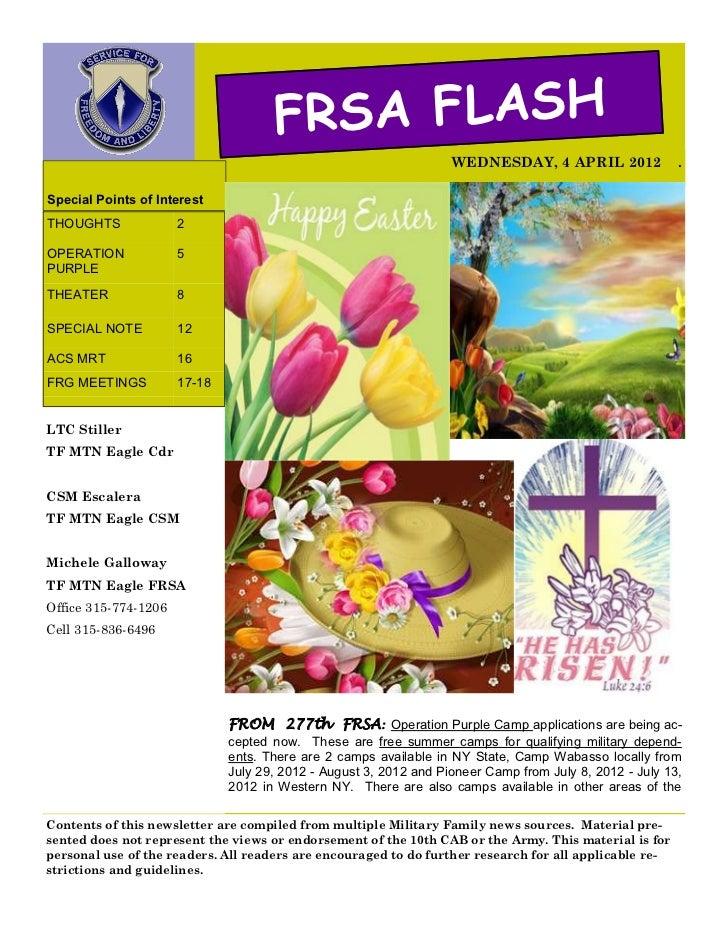 FRSA FLASH                                                                   WEDNESDAY, 4 APRIL 2012               .Specia...