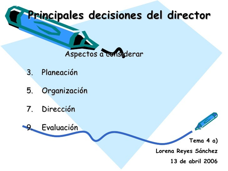 Principales decisiones del director <ul><li>Aspectos a considerar </li></ul><ul><li>Planeación </li></ul><ul><li>Organizac...