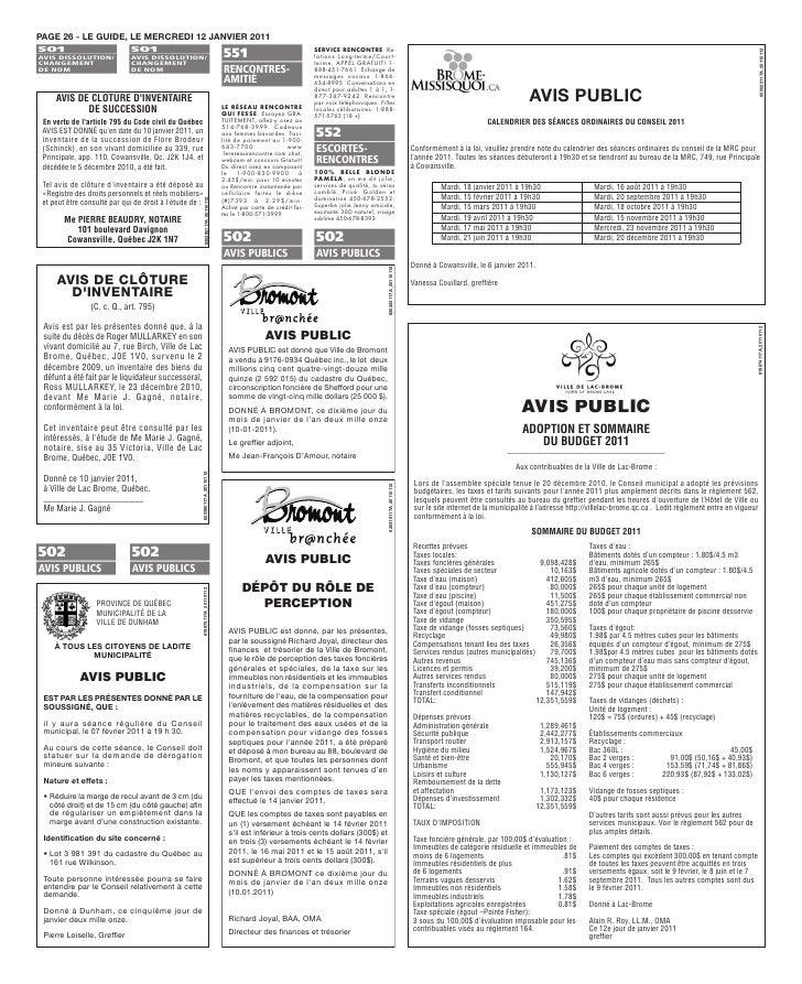 PAGE 26 - LE GUIDE, LE MERCREDI 12 JANVIER 2011 501                           501                                         ...