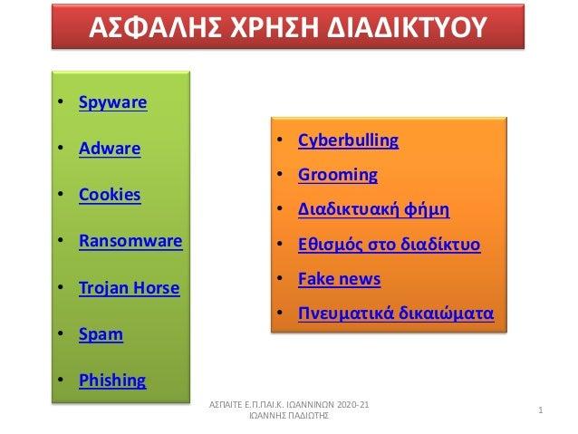 ΑΣΦΑΛΗΣ ΧΗΣΗ ΔΙΑΔΙΚΤΥΟΥ • Spyware • Adware • Cookies • Ransomware • Trojan Horse • Spam • Phishing ΑΣΠΑΙΤΕ Ε.Π.ΠΑΙ.Κ. ΙΩΑ...