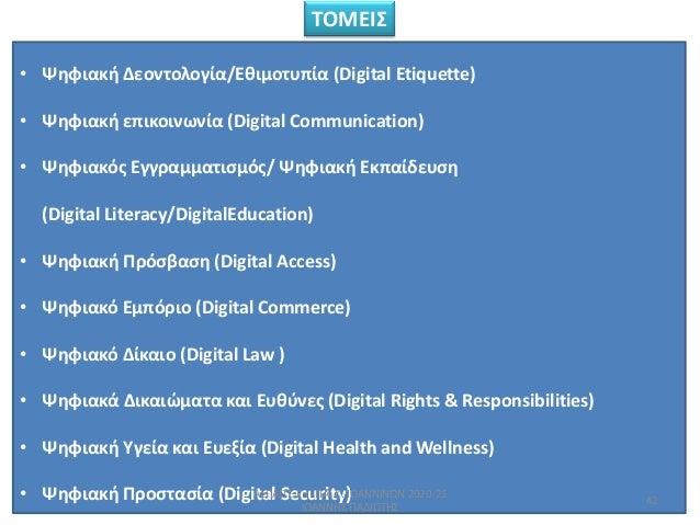 • Ψθφιακι Δεοντολογία/Εκιμοτυπία (Digital Etiquette) • Ψθφιακι επικοινωνία (Digital Communication) • Ψθφιακόσ Εγγραμματιςμ...