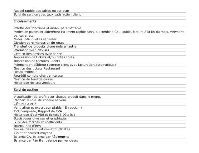 4ASoft Resto - logiciel pour les restaurants, spécification générale. Slide 2