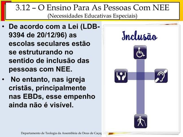 3.12 – O Ensino Para As Pessoas Com NEE (Necessidades Educativas Especiais) • De acordo com a Lei (LDB- 9394 de 20/12/96) ...