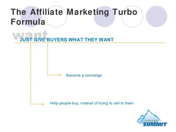 The Affiliate Marketing Turbo Formula Become a concierge Help people buy, instead of trying to sell to them want JUST GIVE...