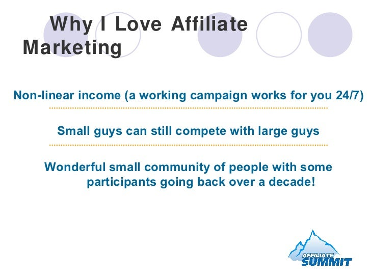 Why I Love Affiliate Marketing Non-linear income (a working campaign works for you 24/7) Small guys can still compete with...