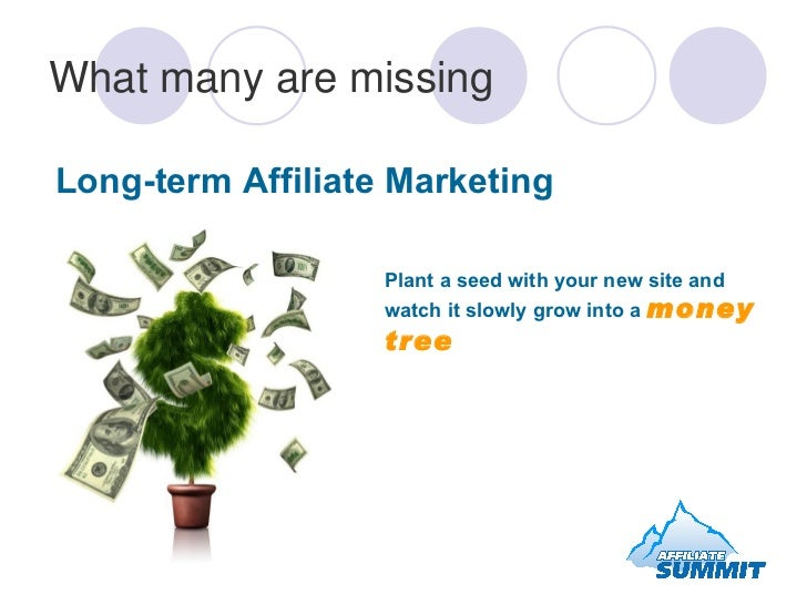 What many are missing Long-term Affiliate Marketing   Plant a seed with your new site and watch it slowly grow into a  mon...