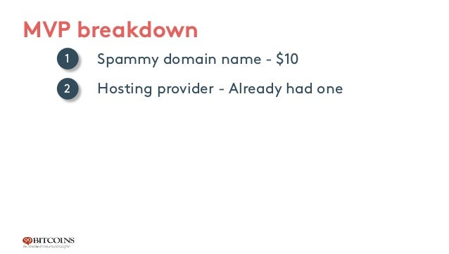 MVP breakdown Spammy domain name - $10 Hosting provider - Already had one WP template - reuse an old one Creating video tu...