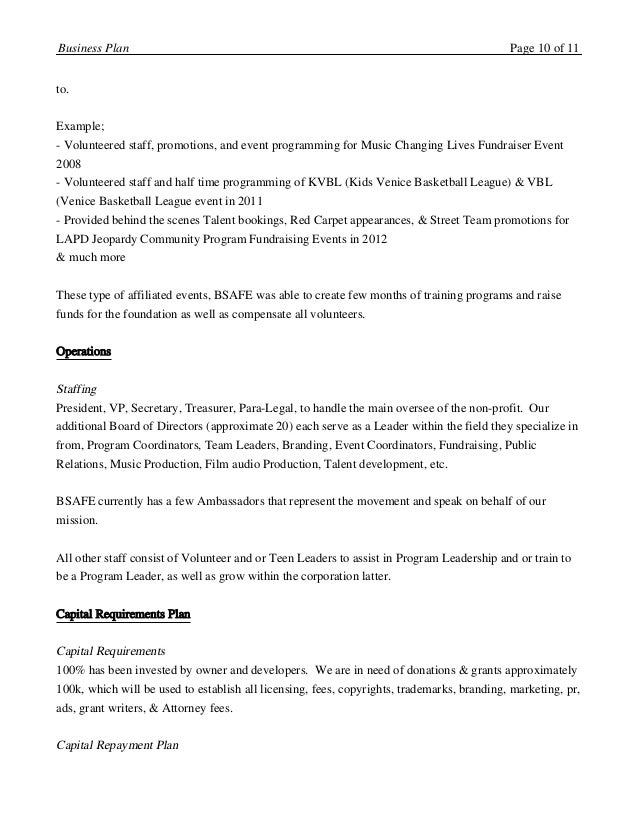 Bsafe4ent 2016 2017 business plan business plan page 9 of 11 10 to example accmission Choice Image