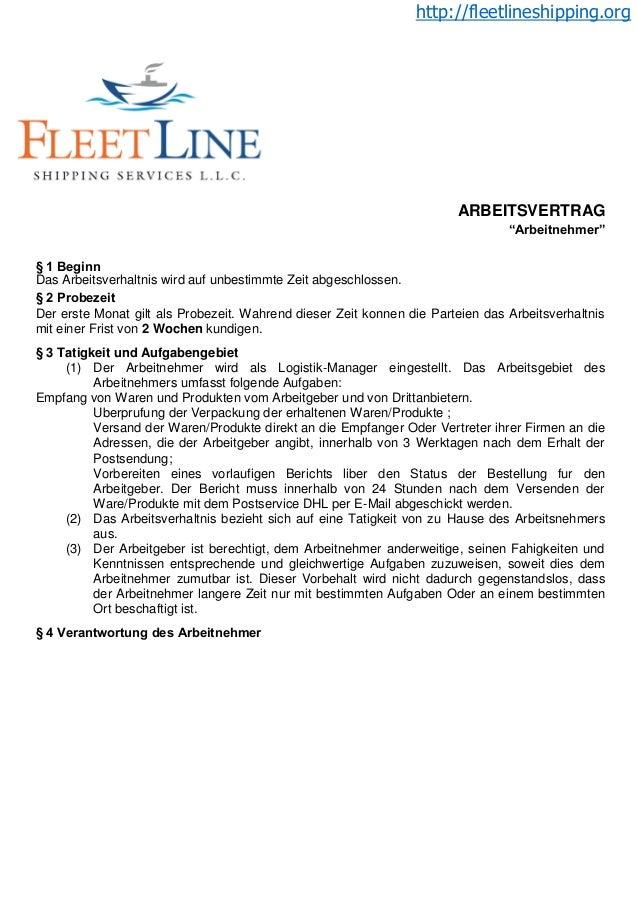 """http://fleetlineshipping.org ARBEITSVERTRAG """"Arbeitnehmer"""" § 1 Beginn Das Arbeitsverhaltnis wird auf unbestimmte Zeit abge..."""