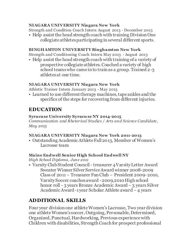 athletic coach resumes