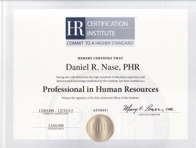 PHR Certificate Daniel Nase
