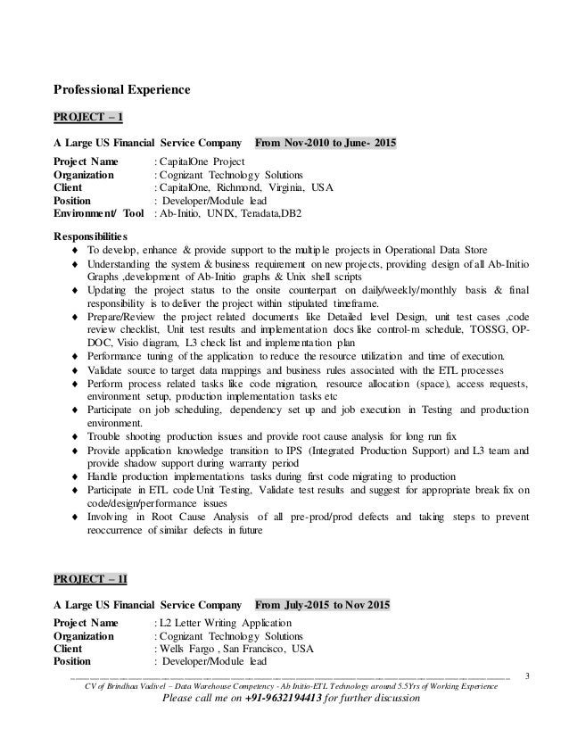 Etl Developer Resume | Cover Letter