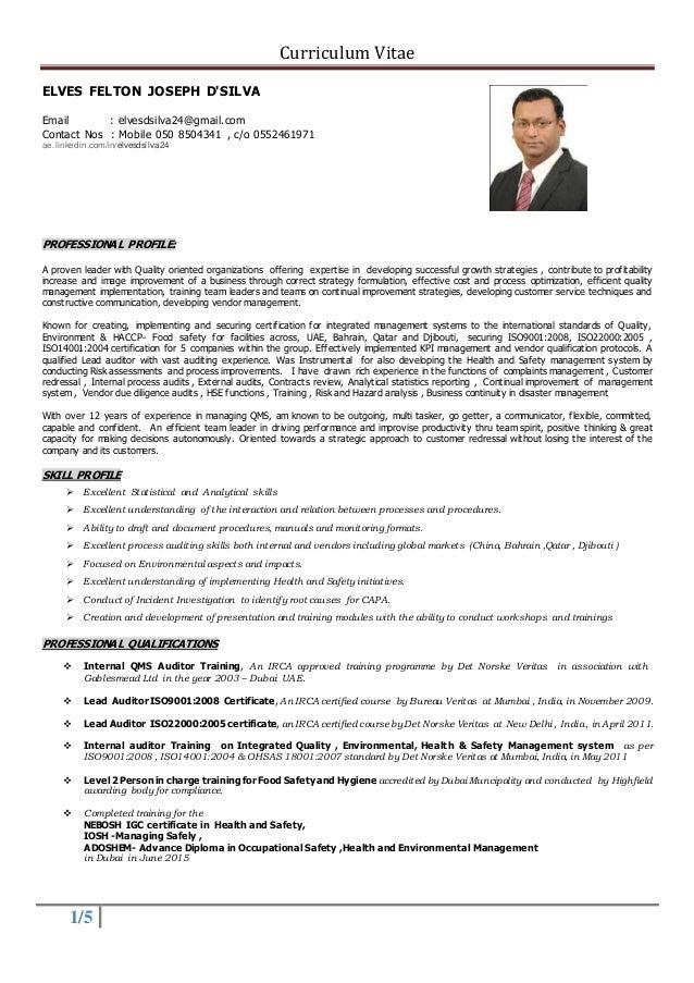 Curriculum Vitae 1 5 ELVES FELTON JOSEPH DSILVA Email Elvesdsilva24gmail