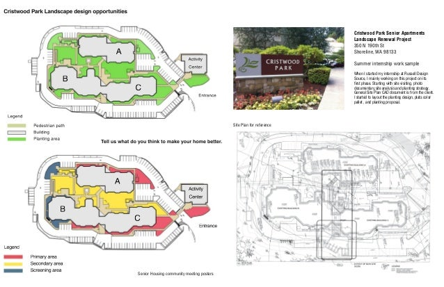 Site Plan for reference Cristwood Park Senior Apartments Landscape Renewal Project 350 N 190th St Shoreline, WA 98133 Summ...