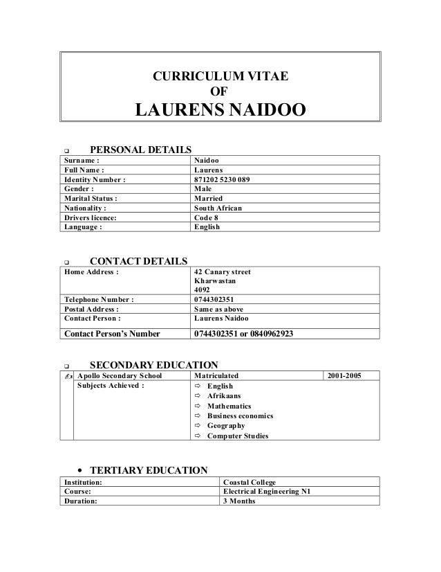 Laurens naidoo CV