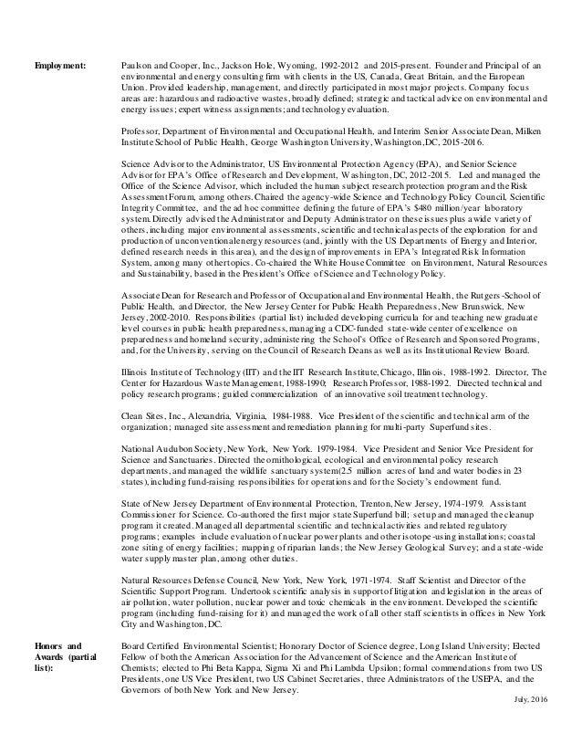 Paulson Short Resume, July 2016
