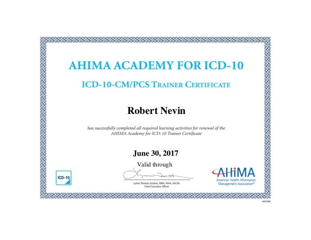 certificate ahima icd slideshare approved trainer upcoming nevin