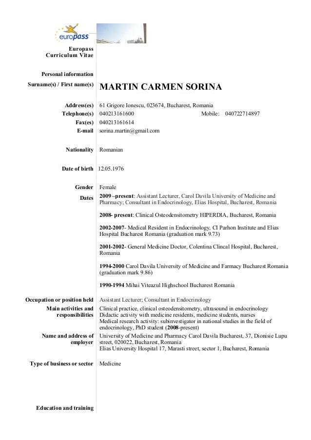 cv sorina martin europass engleza