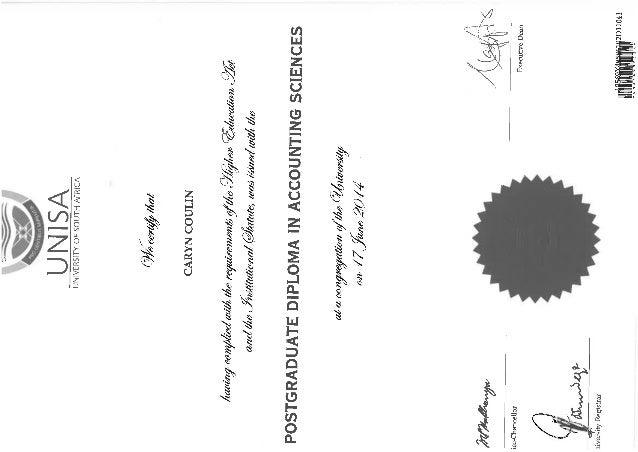 UNISA Post grad degree certificate