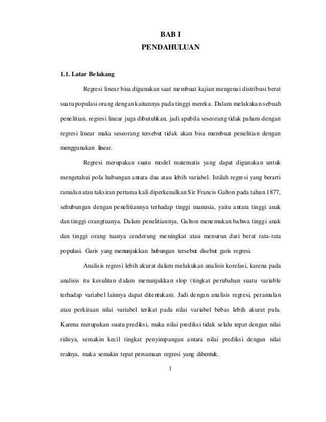 Analisis Regresi Linier Sederhana