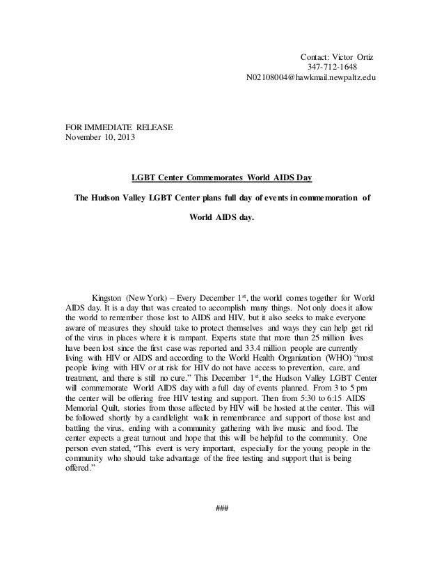 Contact: Victor Ortiz 347-712-1648 N02108004@hawkmail.newpaltz.edu FOR IMMEDIATE RELEASE November 10, 2013 LGBT Center Com...