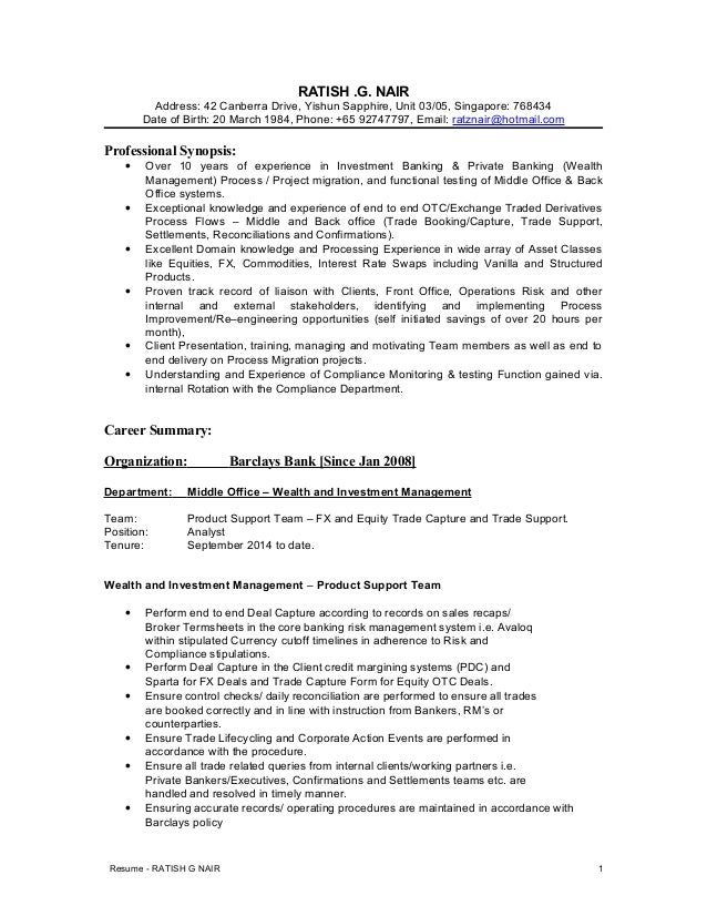 ratish nair resume