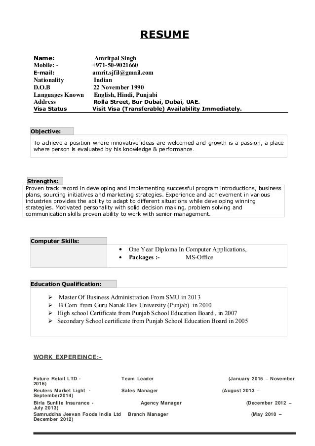 availability status in resume