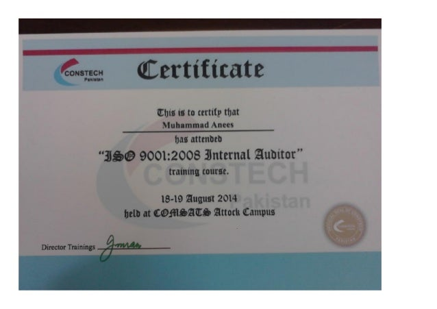 ISO Auditor Certificate