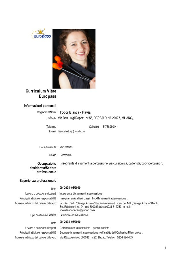 Curriculum Vitae Insegnante Firmakoek