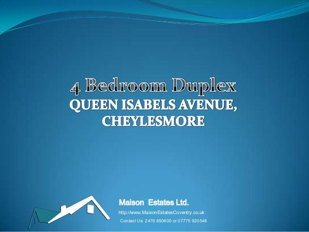 Maison Estates Ltd. http://www.MaisonEstatesCoventry.co.uk Contact Us: 2476 650600 or 07775 920548