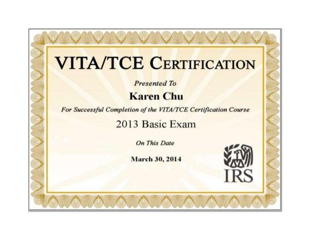 2013 VITA certificate