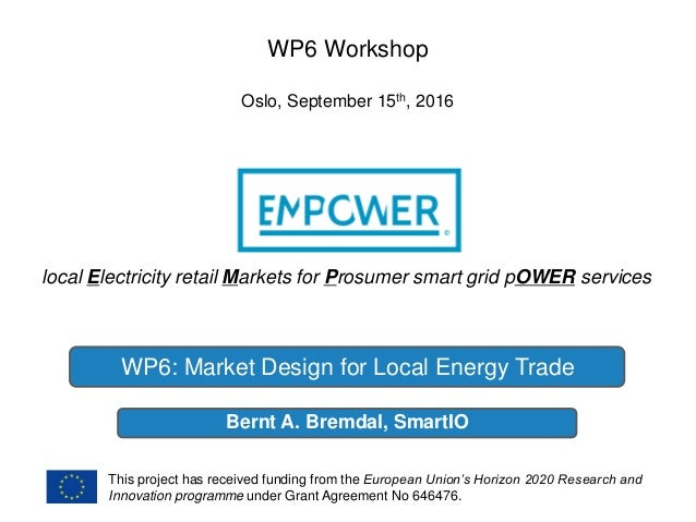 local Electricity retail Markets for Prosumer smart grid pOWER services This project has received funding from the Europea...