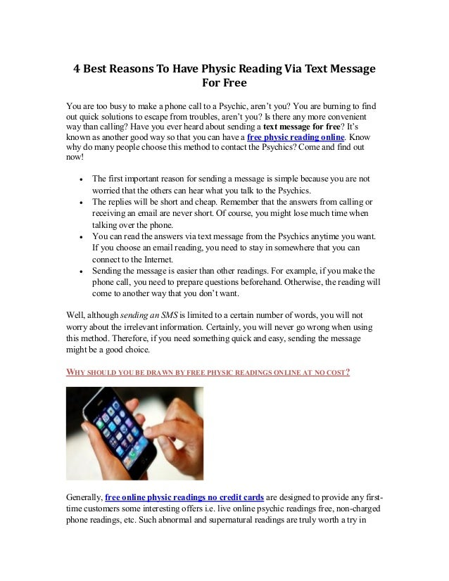 Top 4 Reasons To Have Physic Reading Via Text Message For Free