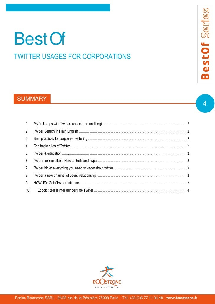 BestOfTWITTER USAGES FOR CORPORATIONS SUMMARY                                                                             ...
