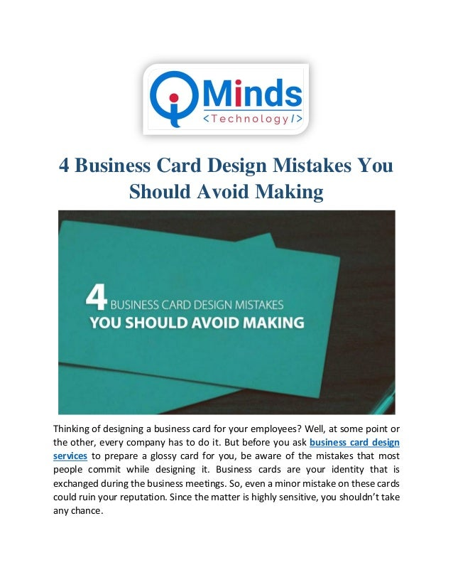 4 Business Card Design Mistakes You Should Avoid Making