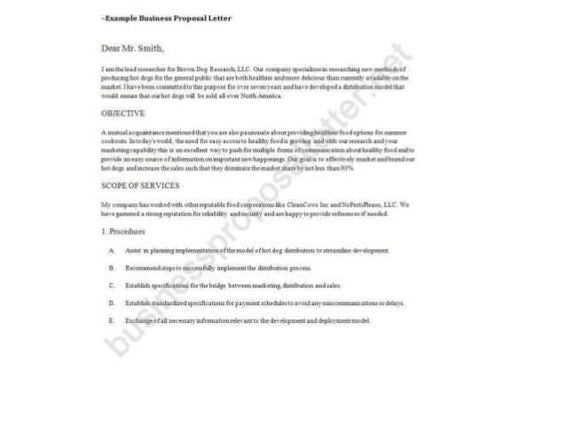 Business Proposal Letter Example; 2. ...  Example Proposal Letter