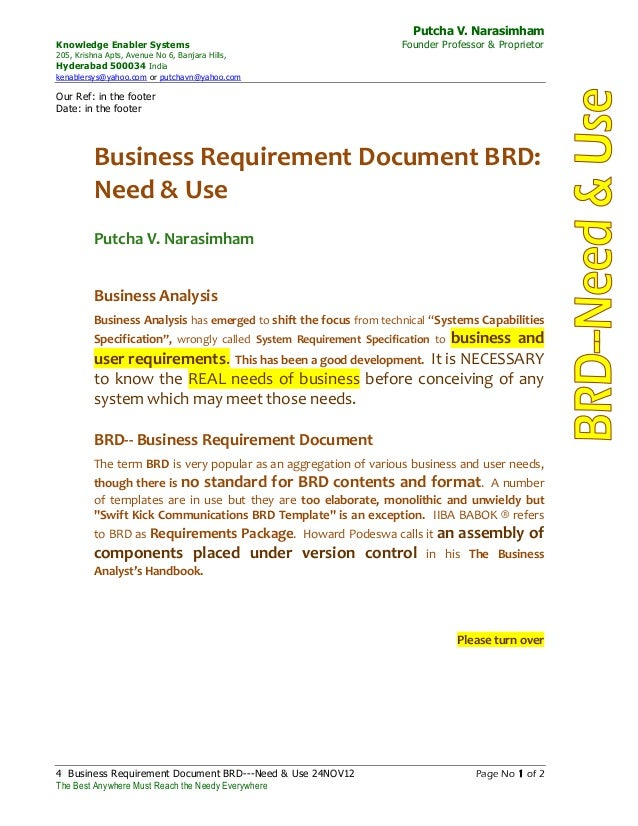 Business Requirement Document Brd: Need And Use