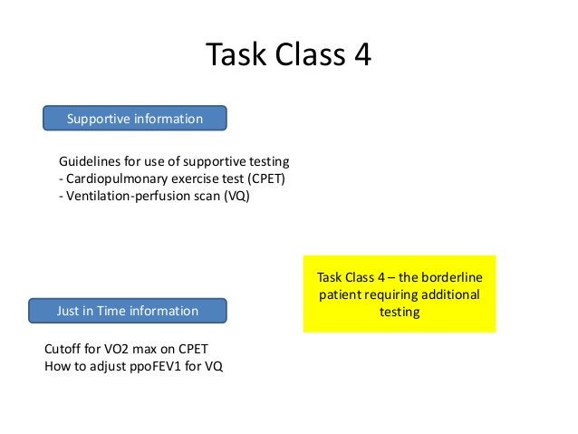 Task Class 4   Supportive information  Guidelines for use of supportive testing  - Cardiopulmonary exercise test (CPET)  -...
