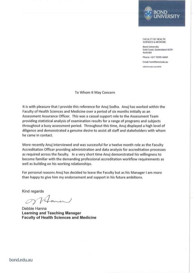 Reference Letter Medical School Bond University. FACULTY OF HEALTH SCIENCES  U0026 MEDICINE Bond University Gold Coast, Queensland 4229 Australia Phone: