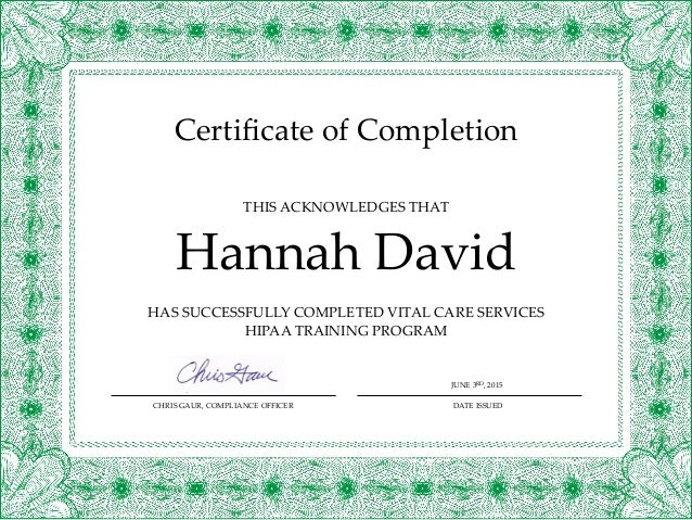 Hipaa course completion certificate hdavid 1 for Hipaa training certificate template
